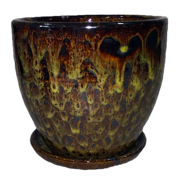"14"" Molten Yellow Ceramic Volcano Pot and Detached Drip Tray"