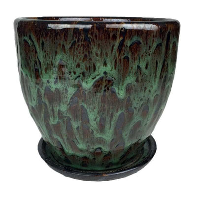 "14"" Jadeite Green Ceramic Volcano Pot and Detached Drip Tray"