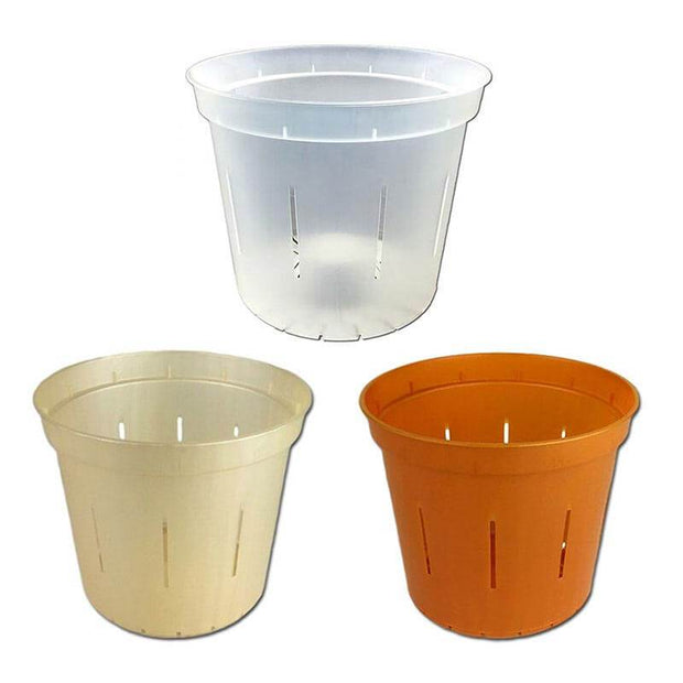 "5"" Slotted Orchid Pot - Sampler Pack 1 Each of Clear, Golden Creme, and Copper Amber"