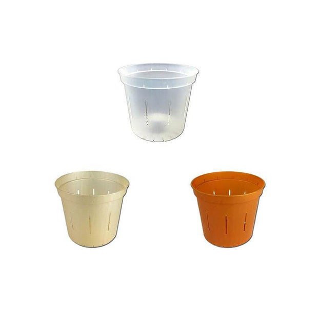 "3"" Slotted Orchid Pot - Sampler Pack 1 Each of Clear, Golden Creme, and Copper Amber"