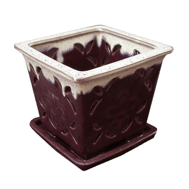 "5"" Purple Square Fleur de Lis Cream Accent Ceramic Orchid Pot"