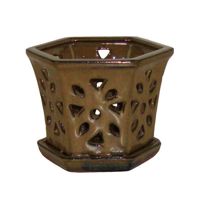 "5"" Moss Hexagon Ceramic Orchid Pot"