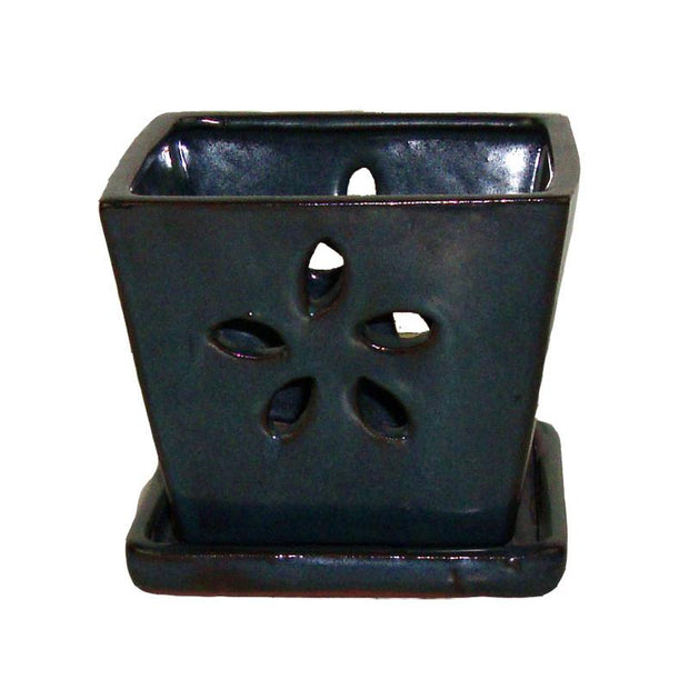 "5"" Dark Teal Square Floral Cutout Ceramic Orchid Pot"