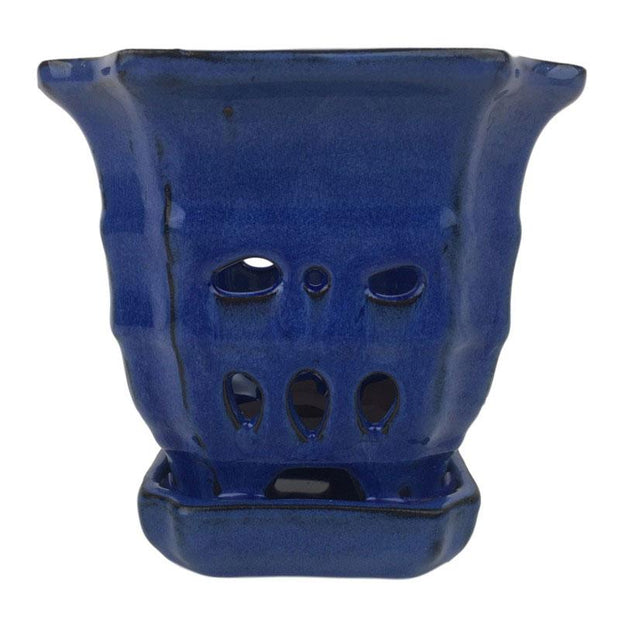 "4.5"" Midnight Blue Sculpted Square Ceramic Orchid Pot"
