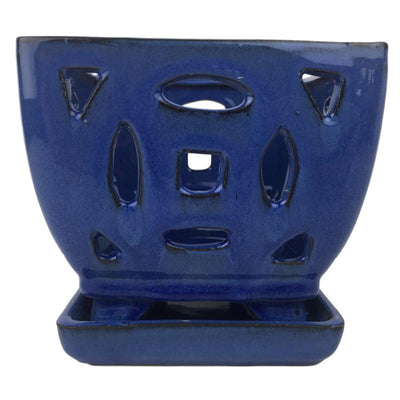 "4.5"" Bay Blue Square Ceramic Orchid Pot"