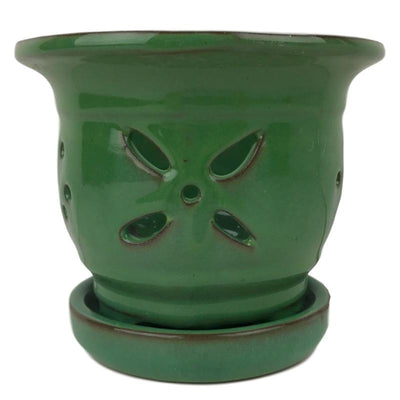 "4.5"" Pistachio Green Round Ceramic Orchid Pot"
