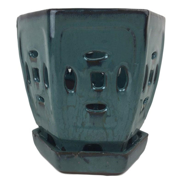 "4.5"" Teal Hexagon Ceramic Orchid Pot"