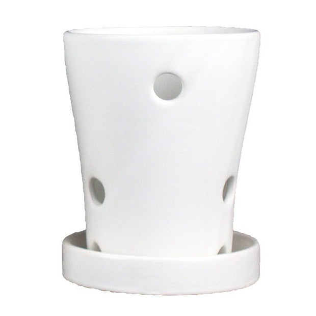 "3.5"" x 5"" White Round Matte Finish Ceramic Orchid Pot"