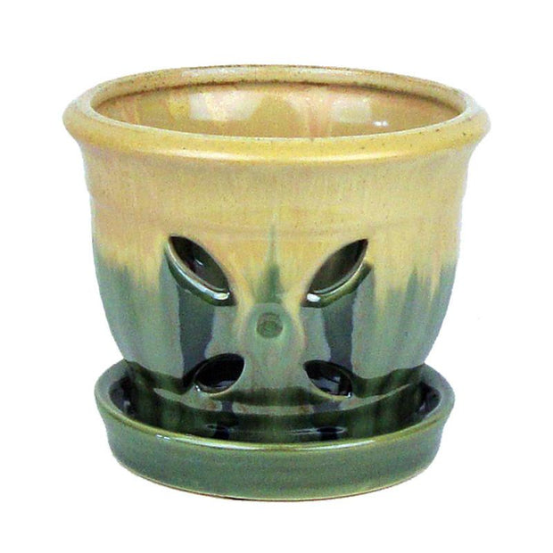 "5"" Spruce Green Almond Accent Ceramic Orchid Pot"