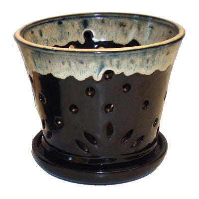 "7"" Black Round Coffee Cream Accent Ceramic Orchid Pot"