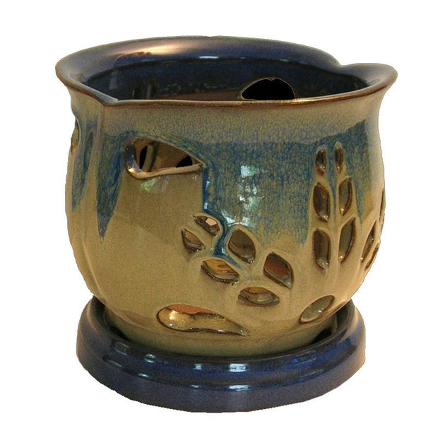 "6"" Bay Blue over Moss Blooming Round Ceramic Orchid Pot"