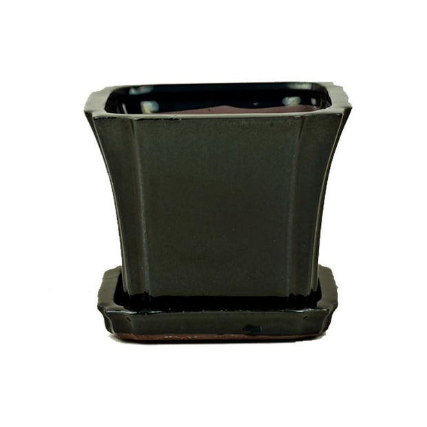 "5"" Solid Black Onyx Square Ceramic Orchid Pot"