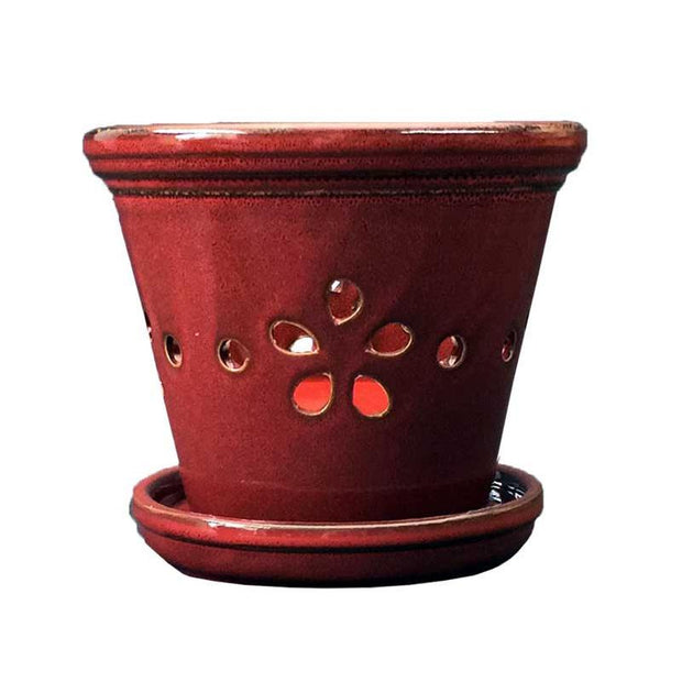 "5"" Parisian Red Round Floral Cutout Ceramic Orchid Pot"