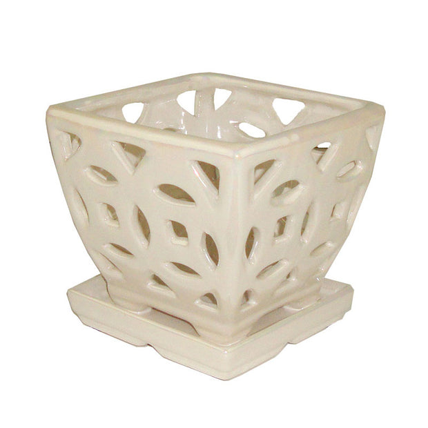 "5"" White Pearl Square Ceramic Orchid Pot"