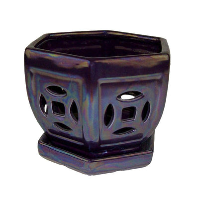 "5"" Royal Purple Pearl Hexagon Ceramic Orchid Pot"