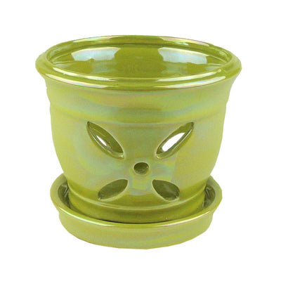 "5"" Chartreuse Pearl Round Ceramic Orchid Pot"