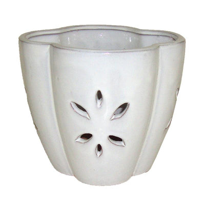 "7"" White Star Ceramic Orchid Pot"