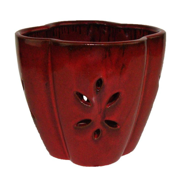 "7"" Red Star Ceramic Orchid Pot"