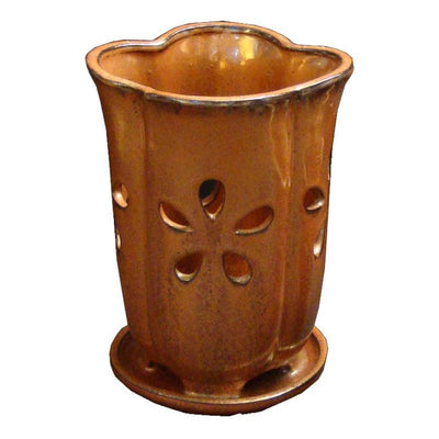 "5"" x 7.5"" Tall Bamboo Fluted Round Ceramic Orchid Pot"