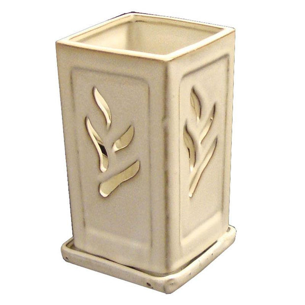 "4"" x 7.5"" Tall Creme Square Ceramic Orchid Pot"