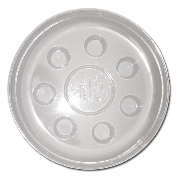 "10"" Heavy Duty Clear Plastic Saucer - 16 Pack"