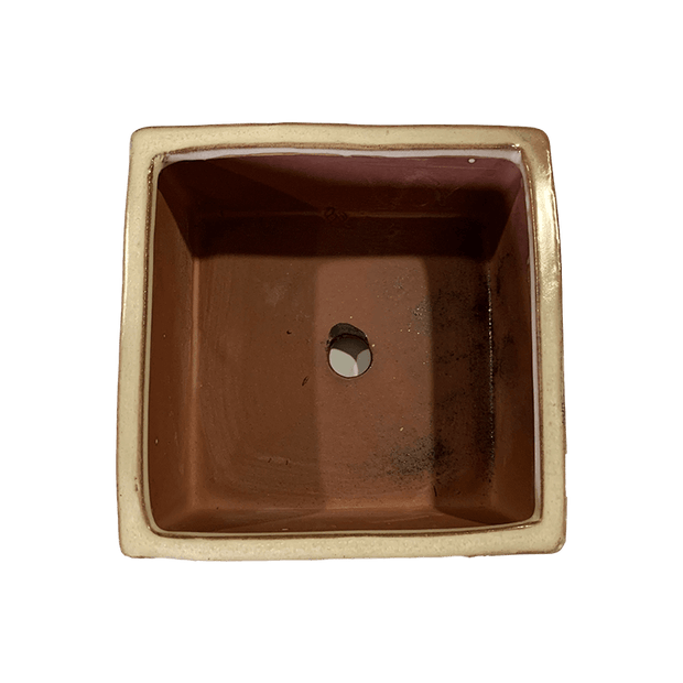 "5"" Honey Cream Over Copper Square Ceramic Succulent Pot"