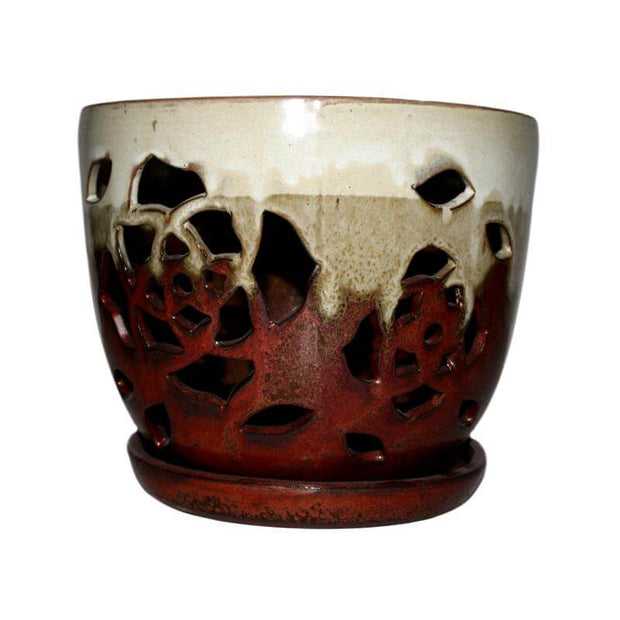 "6"" Honey Cream Over Copper Floral Cutout Orchid Pot"