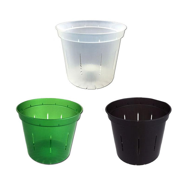 "4"" Slotted Orchid Pot - Sampler Pack 1 Each of Green Emerald, Black Onyx, and Crystal Clear"