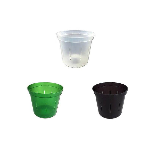 "3"" Slotted Orchid Pot - Sampler Pack 1 Each of Green Emerald, Black Onyx, and Crystal Clear"