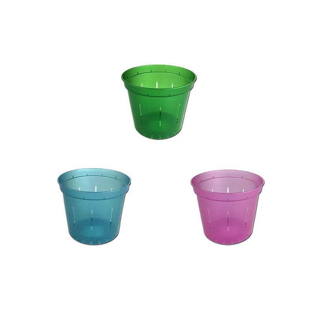 "3"" Slotted Orchid Pot - Sampler Pack 1 Each of Rose Quartz, Blue Sapphire, and Green Emerald"