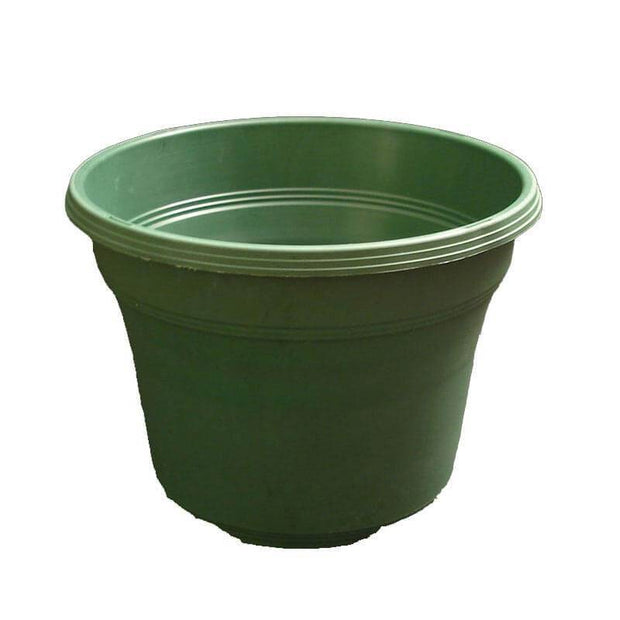 "12"" Matte Finish Green Plastic Pot"