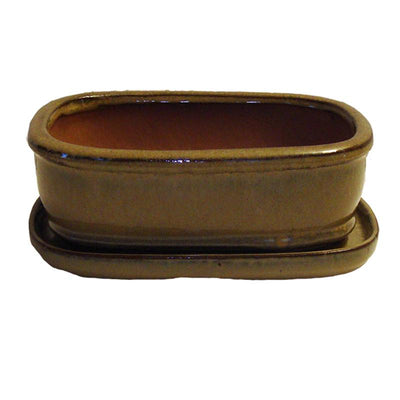 "8"" Coffee Cream Rounded Rectangle Ceramic Bonsai Pot"