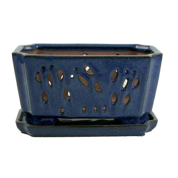 "5"" x 9.5"" Bay Blue Ceramic Orchid Window Box"