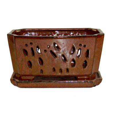 "5"" x 9.5"" Copper Ceramic Orchid Window Box"