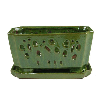 "5"" x 9.5"" Tropical Green Ceramic Orchid Window Box"