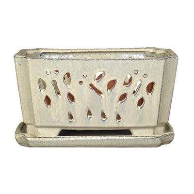 "5"" x 9.5"" Creme Ceramic Orchid Window Box"