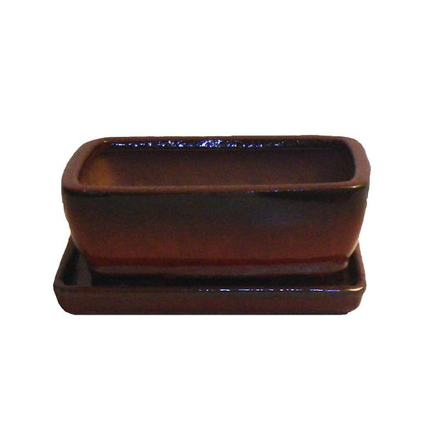 "6"" Parisian Red Rounded Rectangle Ceramic Bonsai Pot"