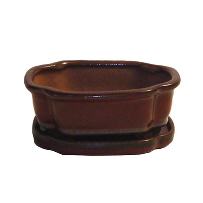 "6"" Parisian Red Sculpted Oval Ceramic Bonsai Pot"