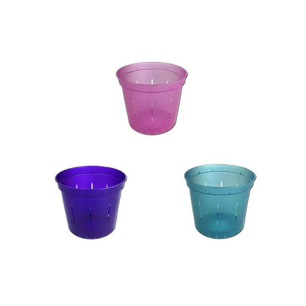 "3"" Slotted Orchid Pot - Sampler Pack 1 Each of Rose Quartz, Blue Sapphire, and Purple Amethyst"