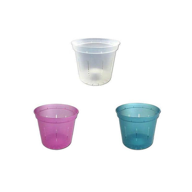 "3"" Slotted Orchid Pot - Sampler Pack 1 Each of Rose Quartz, Blue Sapphire, and Crystal Clear"