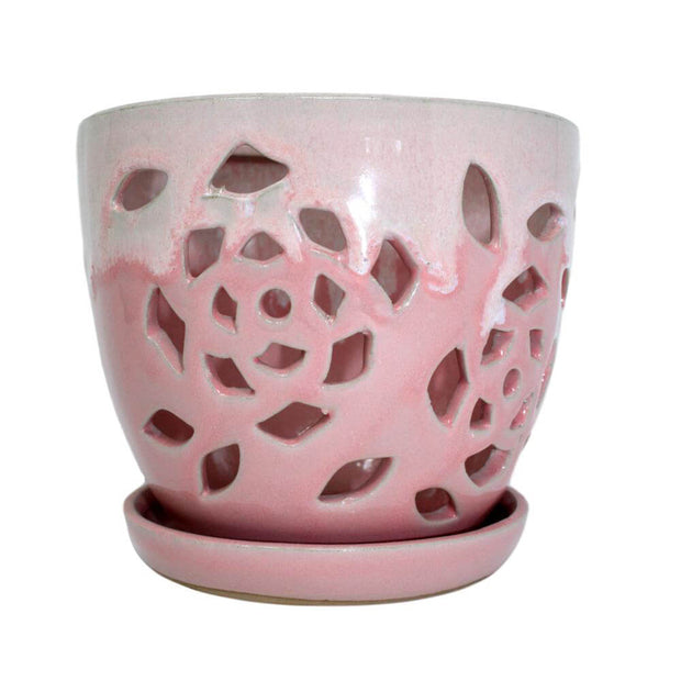 "6"" Cream Over Cotton Candy Floral Cutout Orchid Pot"