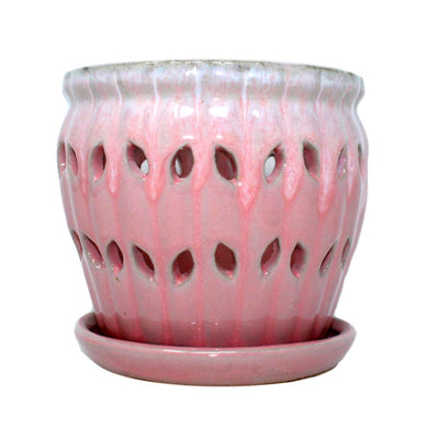 "5"" Cream Over Cotton Candy Pinwheel Fluted Orchid Pot"