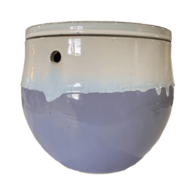 "12"" Cream Over Lavender Teardrop Self Watering Pot"