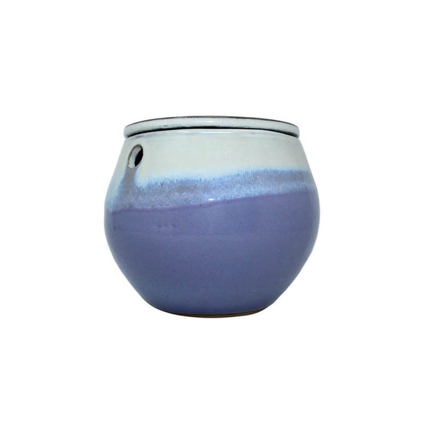"6"" Cream Over Lavender Teardrop Self Watering Pot"