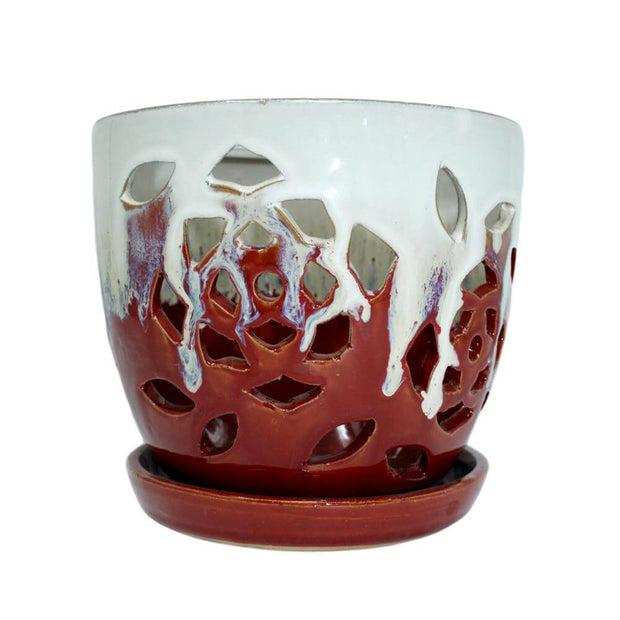 "6"" Cream Over Garnet Floral Cutout Orchid Pot"
