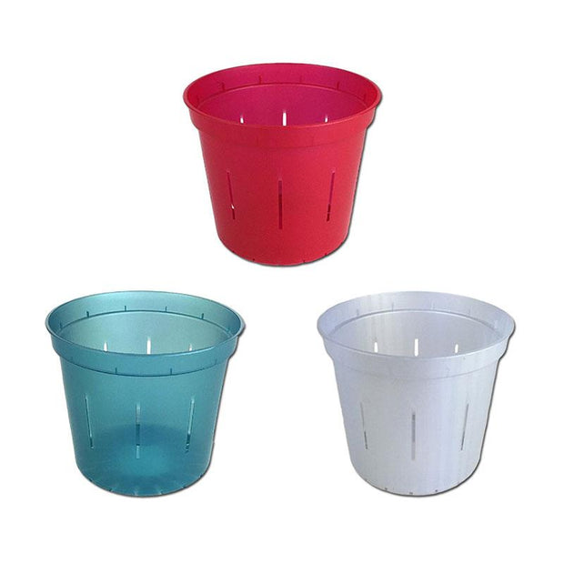 "4"" Slotted Orchid Pot - Sampler Pack 1 Each of Ruby Red, White Pearl, and Blue Sapphire"