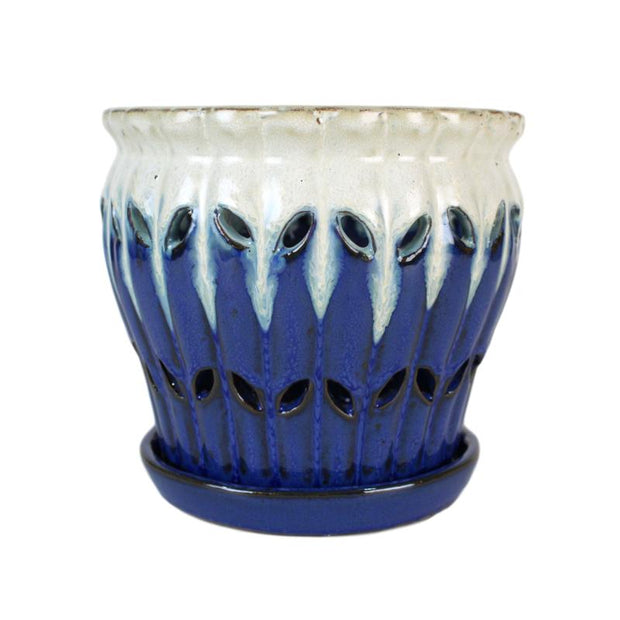 "6"" Sky Blue Over Cobalt Pinwheel Fluted Orchid Pot"