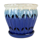 "8"" Sky Blue Over Cobalt Pinwheel Fluted Orchid Pot"