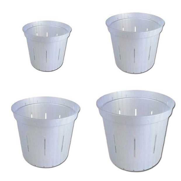 Growers Assortment of White Pearl Slotted Orchid Pots