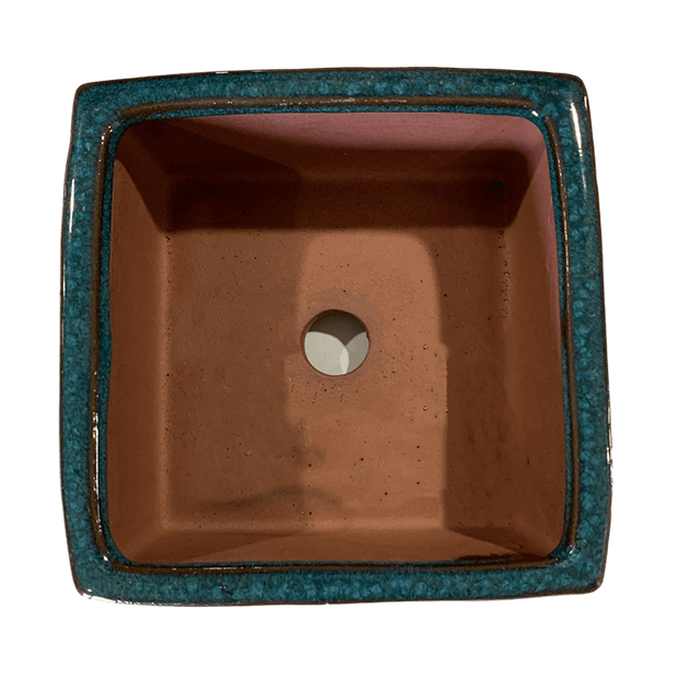 "4"" Teal Jade Square Ceramic Succulent Pot With Decorative Bamboo Saucer"